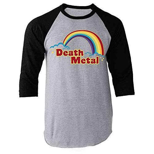 Death Metal Retro Rainbow 70s 80s Sarcastic Black XL Raglan Baseball Tee Shirt