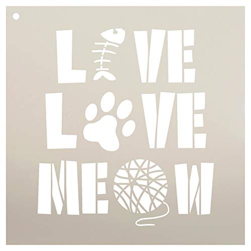 - Live Love Meow with Fish Paw Print & Yarn Stencil by StudioR12 | Reusable Mylar Template | Use to Paint Wood Signs - Pallets - Pillows - DIY Animal Lover Home Decor - Select Size (9