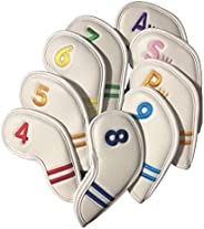 Golf Iron Covers, Synthetic Leather Golf Iron Head Covers Set Headcover Water Resistant Durable Fit All Brands