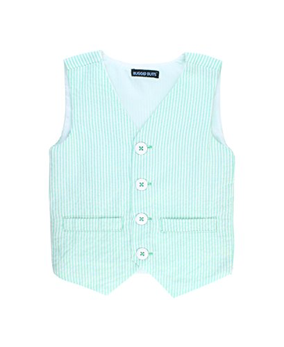 RuggedButts Little Boys Mint Seersucker Vest - 3T