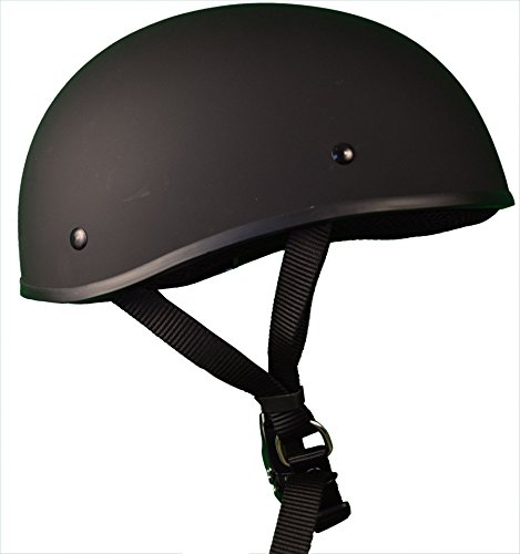 Bikerhelmets.com -  Micro Slim Motorcycle Helmet - DOT Approved Ultra Low Profile Beanie - Flat Black No Peak - Large ()