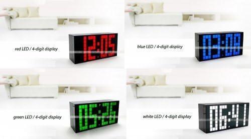 Bule, 4-Digit Version Yosoo Large Big 4 6 Digit Jumbo LED Digital Alarm Calendar Snooze Wall Desk Clock