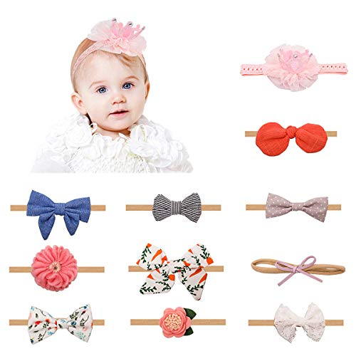 Handmade Infant Girl - Baby Girl Headbands Bows and Handmade Hair Accessories, 11pcs Nylon Elastic Newborn Infant Toddler Headbands for Baby Girl Gifts