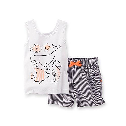 Carter's Baby Girls Sea Life Tank & Shorts Set white/navy (Sea Life Short Set)