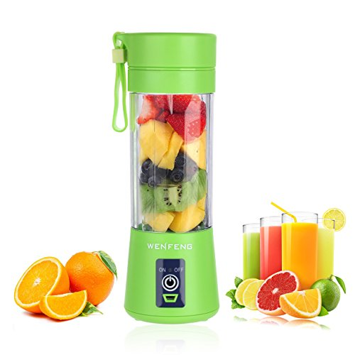 New [Upgraded Version] WENFENG USB Juicer Cup, Personal Size Rechargeable Juice Blender and Mixer, 3...