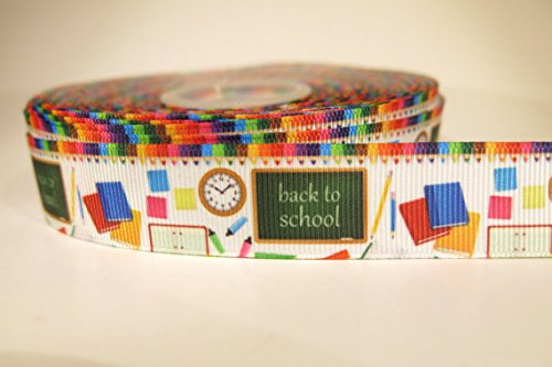 5 yards of 7/8 inch Back to school grosgrain ribbon