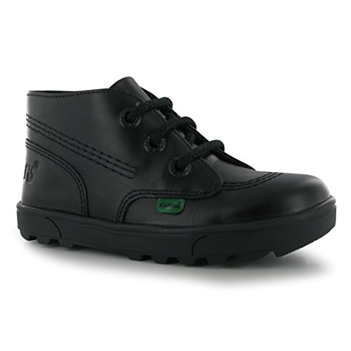 Kickers Kids Children Boys Disley Hi Shoes Lace Up Cushioned Insole Moc Toe Black UK 1 - Shoes Kickers Childrens