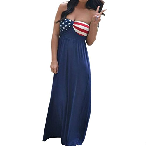4th July American Flag Patriotic Women Off Shoulder Long Maxi Evening Beach Strapless Dress (L, Blue)