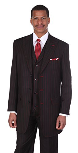 Men's 3pc Gangster Pin-striped Three Button Suit 5903 w/ Vest Milano Moda (44R, Black/Red)]()