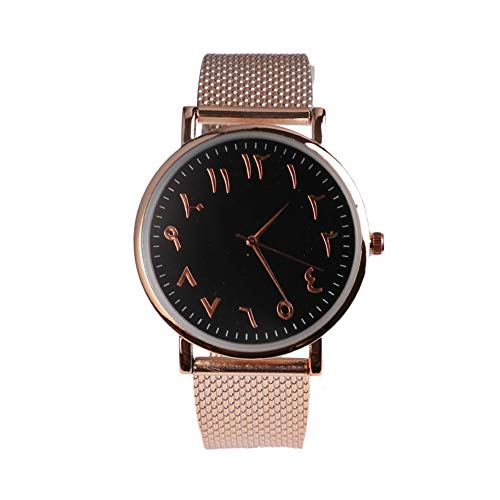Arabic Numbers Mesh Watch Classic Men Women Simple Dial Quartz Watches (B
