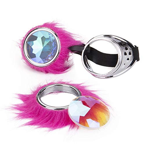 Gothic Pink Fur Steampunk Goggles Kaleidoscope Rave Goggle Vintage Party Eyewear ()