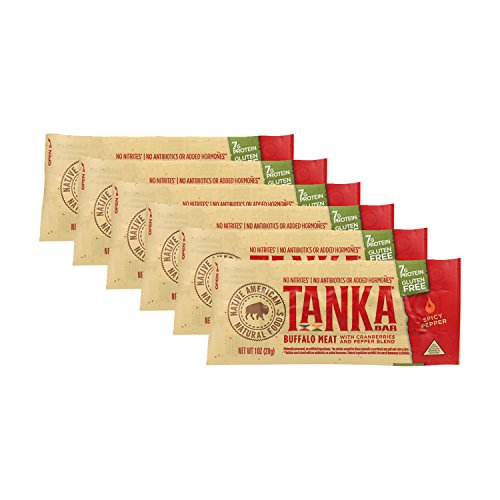 Meat Bar with Buffalo and Cranberries by Tanka, Spicy Pepper, Beef Jerky Alternative, Gluten Free Snacks, 1 ounce bar, Pack of 6