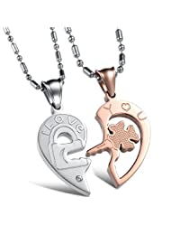 "COPAUL a Pair Couple Engraved Stainless Steel ""I Love You"" Engraved Matching Key to My Heart Necklace Sets"