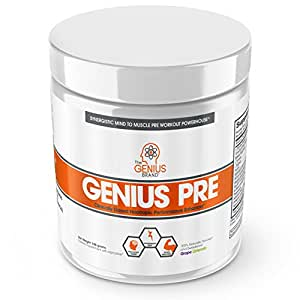 Genius Pre Workout – All Natural Nootropic Preworkout Powder & Caffeine-Free Nitric Oxide Booster with Beta Alanine and Alpha GPC - Focus, Energy and Muscle Building Supplement, Grape Limeade, 338G