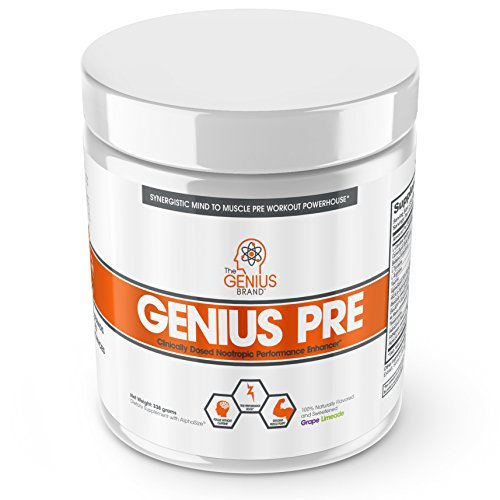 Genius Pre Workout - All Natural Nootropic Preworkout Powder & Caffeine-Free Nitric Oxide Booster with Beta Alanine and Alpha GPC - Focus, Energy and Muscle Building Supplement, Grape Limeade, 338G