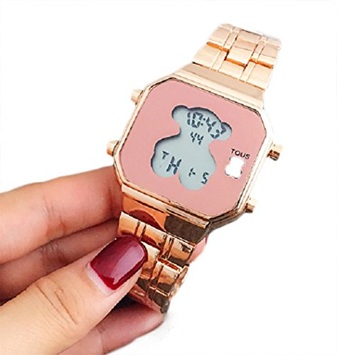 Lover Gold Watch (Electronic Digital Bear Wristwatch Noctilucent Fashion Men Women Stainless Steel LED Watch (Rose Gold))