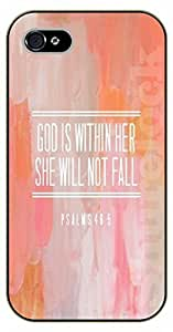 For Ipod Touch 4 Case Cover Bible Verse - Pink: God is within her, she will not fail. Psalm 46:15 - black plastic case / Verses, Inspirational and Motivational