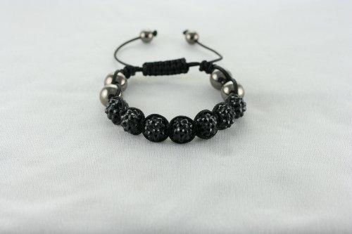 Beautiful Black Sparkling Shamballa Bracelet Resin Rhinestone Hematite -