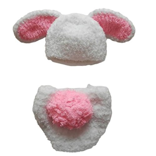 Ufraky Baby Bunny Rabbit Handmade Hat Beanie Diaper photo props Costume Set -
