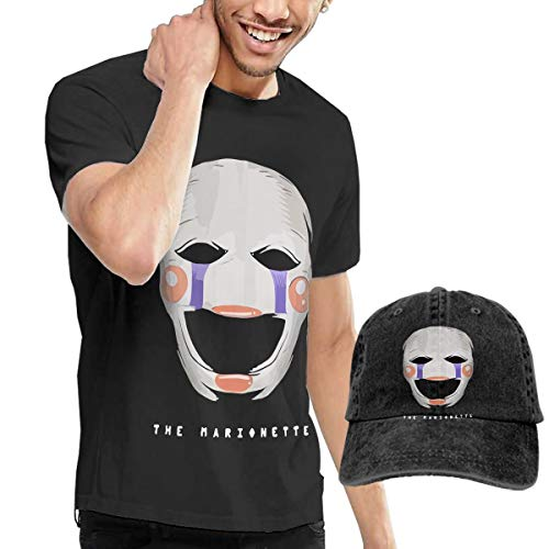 (LixuA Adult Five Nights at Freddy's Marionette Short Sleeve T-Shirt and Hat Costume Set)