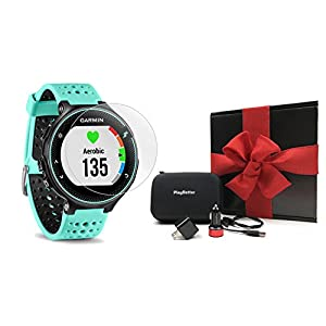 Garmin Forerunner 235 (Frost Blue) GIFT BOX Bundle | Includes Glass Screen Protectors, PlayBetter USB Car/Wall Adapters, Protective Case, Black Gift Box | GPS Running Watch, Wrist Based Heart Rate