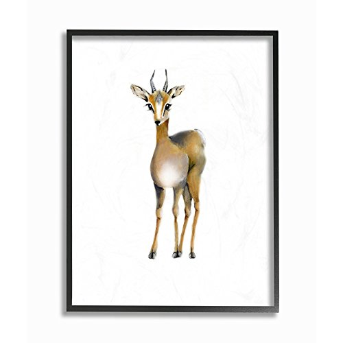 The Kids Room by Stupell Painted Antelope Single Animal Framed Giclee Texturized Art, 11 x 1.5 x 14, Proudly Made in USA ()