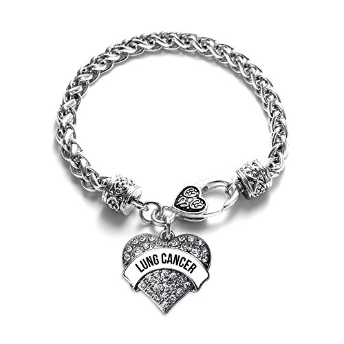 Inspired Silver White and Black Lung Cancer Awareness Pave Heart Clear Cystal Charm Bracelet - Cancer Awareness Toggle Bracelet