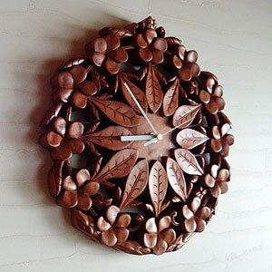 アジアンバリ木彫り時計:プルメリアとリーフの彫刻がサークル状で美しい芸術品クロック!ブラウン B01BXYZNZS
