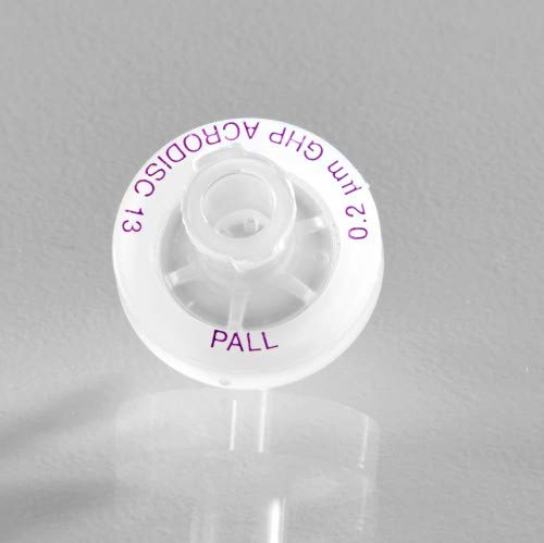 Pall 4556 Acrodisc Syringe Filters with GHP Membrane, 13 mm Diameter, 0.45 µm Pore Size, Minispike Outlet, Pack of 100, GH Polypro Membrane, Hydrophilic Polypropylene