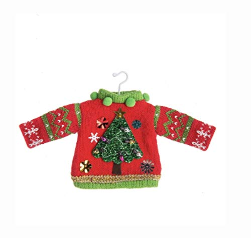 DG Shopping Spree Ugly Tacky Sweater Knitted Christmas Holiday Ornament - Tree