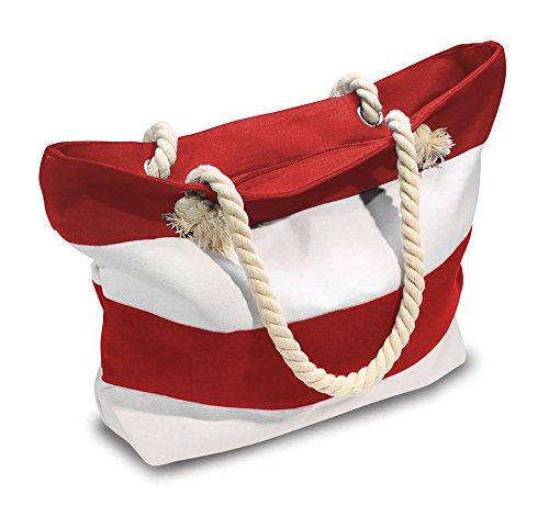Beach Bag With Inner Zipper Pocket (Medium, Red and (Red Beach Bag)