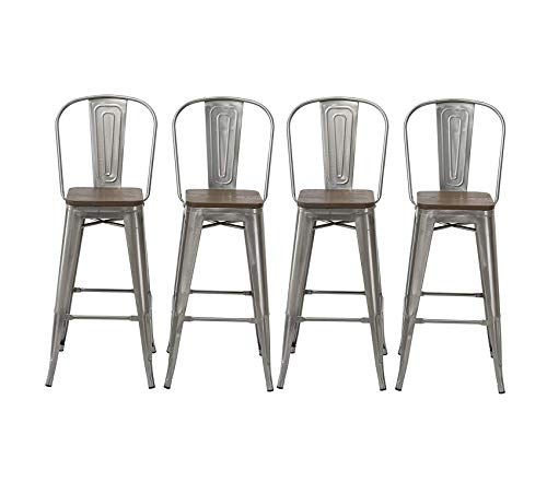 Office Home Furniture Premium 30 Industrial Clear Metal Vintage Antique Style Distressed Brush Rustic Dining Counter Height Bar Stool Chair High Back Handmade Wood top seat (Set of 4 Barstool)