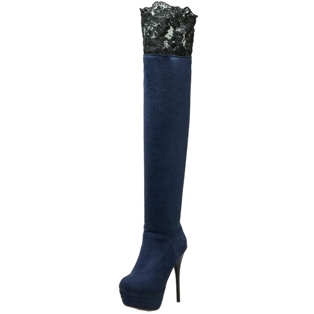bluee Webb Perkin Women with Round Toe Platform Nubuck Cut-Outs Over-The-Knee Boots Fashion shoes Lady Sexy Stiletto Long Boots