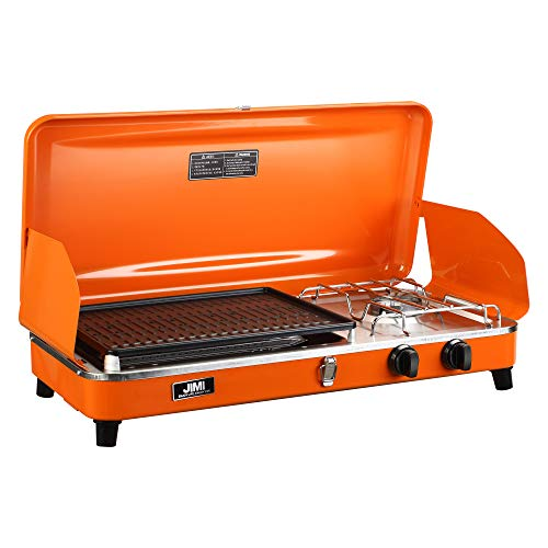 Outdoor Dual-Burner Camping Grill/Stove Portable Gas Grill Tailgating Cooker with Hose and Adapter ()