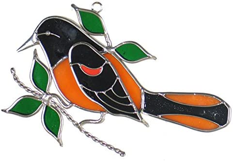 Oriole Bird Stained Glass Sun Catcher