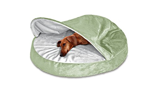 FurHaven Round Snuggery Burrow Pet Bed, Sage, 26