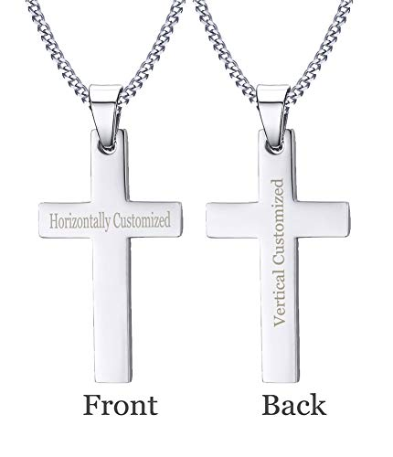 XUANPAI Sliver Custom Engraving Stainless Steel Plain Cross Pendant Necklaces,Religions Personalized Gift for Men Women