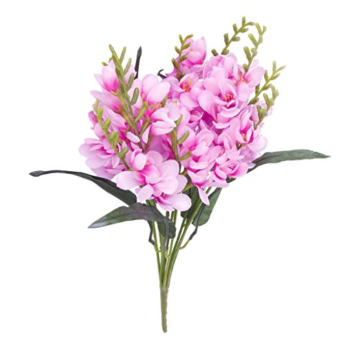 PatyHoll 1 x Artificial Freesia Bouquet with 9 Fork Stems for Wedding Decor (Bouquet Freesia Wedding)