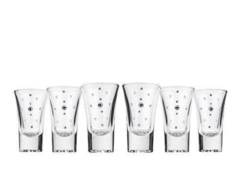 JOZEFINA ATELIER 0180/MULTI Le Monde Cadeaux Jeweled with Swarovski Crystals Shot Glasses, 1, 5 oz, Clear, Silver, Violet (Violet Glass Crystal)
