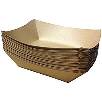 URPARTY -Premium Brown Disposable Paper Food Serving Tray - 2.5 lb capacity - Heavy Duty - Large 50 pcs