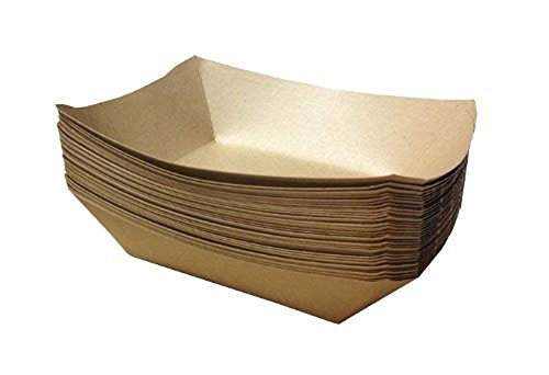 URPARTY -  Premium Brown Disposable Paper Food Serving Tray - 2.5 lb capacity - Heavy Duty - Large 50 pcs (Shower Plates Party Paper Lunch)