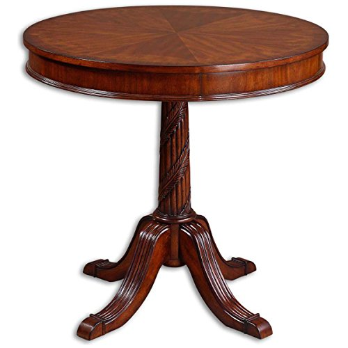 Burl Pecan - Uttermost 24149 Brakefield Pecan Round Table, Polshed Finish