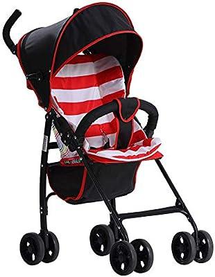 QZX Carrito de bebé Sistema de Viaje de Silla de Paseo Fácil de Plegar Portátil Ultraligero Ruedas de Prueba de Choque Cochecito de bebé Plegable Apto para ...