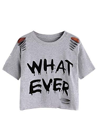 Halloween Costumes For Teenage Girls Tumblr (SweatyRocks Tshirt Letter Print Distressed Ripped Crop T-shirt Grey)