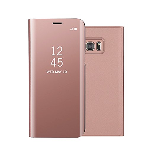 For Samsung Galaxy S7 Edge Mirror Case,Shinetop Slim Fit Metal Electroplate Plating Smart Clear View Case Flip Folio Stand PC Hard Cover 360 Degree Full Body Shockproof Protective Cover-Rose Gold