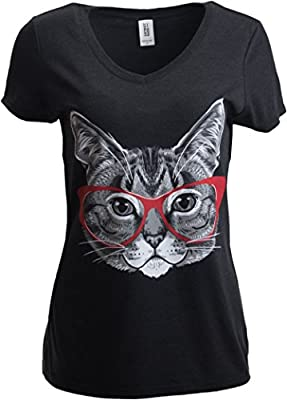 Ann Arbor T-shirt Co. Red Linda Glasses Cat | Sassy Funny Kitty Belcher Cute V-Neck T-Shirt For Women