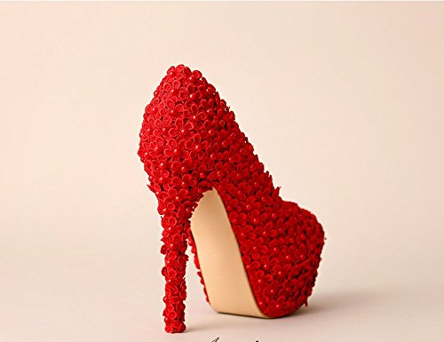 Shoes VIVIOO Shoes Waterproof Red 4 Bride Of Flowers Super High Heeled Pearl Sandals Prom 14Cm Wedding Flower Heel Dress Zq8wrCZ