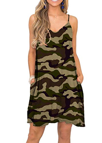 MISFAY Women's Summer Spaghetti Strap Casual Swing Tank Beach Cover Up Dress with Pockets (M, Camouflage) from MISFAY