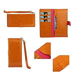DFV mobile - Cover Premium Synthetic Leather with Card Case and Close by Magnet for => Wiko Darkmoon > Orange