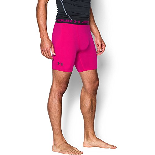 Under Armour Men's HeatGear Armour Compression Shorts - Mid, Tropic Pink (654)/Black, Large